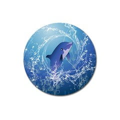 Cute Dolphin Jumping By A Circle Amde Of Water Magnet 3  (Round)
