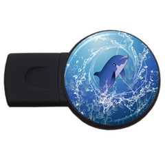 Cute Dolphin Jumping By A Circle Amde Of Water USB Flash Drive Round (1 GB)