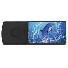 Cute Dolphin Jumping By A Circle Amde Of Water USB Flash Drive Rectangular (2 GB)