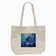 Cute Dolphin Jumping By A Circle Amde Of Water Tote Bag (cream)