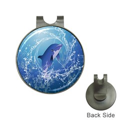 Cute Dolphin Jumping By A Circle Amde Of Water Hat Clips with Golf Markers