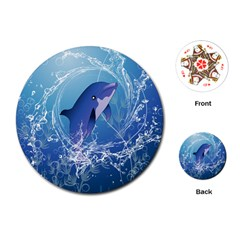 Cute Dolphin Jumping By A Circle Amde Of Water Playing Cards (Round)