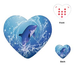Cute Dolphin Jumping By A Circle Amde Of Water Playing Cards (heart)