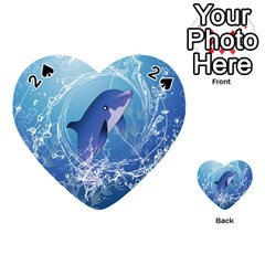 Cute Dolphin Jumping By A Circle Amde Of Water Playing Cards 54 (Heart)