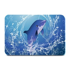 Cute Dolphin Jumping By A Circle Amde Of Water Plate Mats