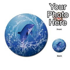 Cute Dolphin Jumping By A Circle Amde Of Water Multi Purpose Cards (round)