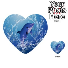 Cute Dolphin Jumping By A Circle Amde Of Water Multi Purpose Cards (heart)