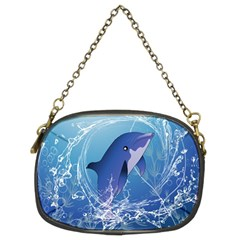 Cute Dolphin Jumping By A Circle Amde Of Water Chain Purses (Two Sides)