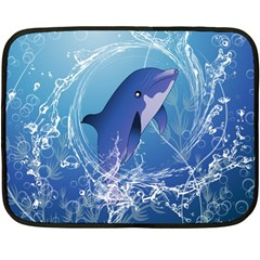 Cute Dolphin Jumping By A Circle Amde Of Water Fleece Blanket (Mini)