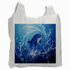 Cute Dolphin Jumping By A Circle Amde Of Water Recycle Bag (One Side)