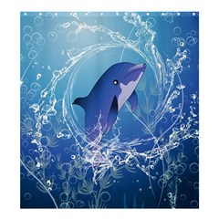 Cute Dolphin Jumping By A Circle Amde Of Water Shower Curtain 66  x 72  (Large)