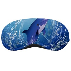 Cute Dolphin Jumping By A Circle Amde Of Water Sleeping Masks