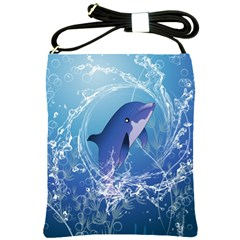 Cute Dolphin Jumping By A Circle Amde Of Water Shoulder Sling Bags