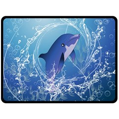 Cute Dolphin Jumping By A Circle Amde Of Water Fleece Blanket (Large)