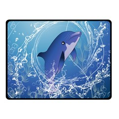 Cute Dolphin Jumping By A Circle Amde Of Water Fleece Blanket (small)
