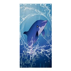 Cute Dolphin Jumping By A Circle Amde Of Water Shower Curtain 36  X 72  (stall)