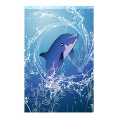 Cute Dolphin Jumping By A Circle Amde Of Water Shower Curtain 48  x 72  (Small)