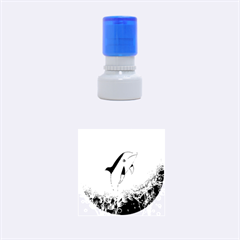 Cute Dolphin Jumping By A Circle Amde Of Water Rubber Round Stamps (Small)
