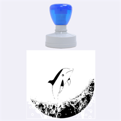 Cute Dolphin Jumping By A Circle Amde Of Water Rubber Round Stamps (Large)