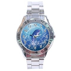 Cute Dolphin Jumping By A Circle Amde Of Water Stainless Steel Men s Watch