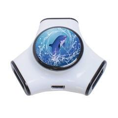 Cute Dolphin Jumping By A Circle Amde Of Water 3-Port USB Hub