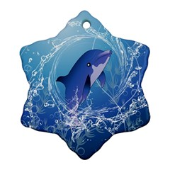 Cute Dolphin Jumping By A Circle Amde Of Water Ornament (Snowflake)