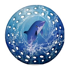 Cute Dolphin Jumping By A Circle Amde Of Water Round Filigree Ornament (2Side)