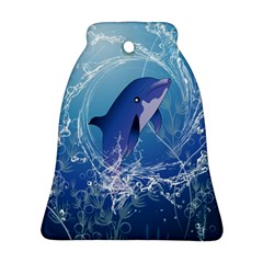 Cute Dolphin Jumping By A Circle Amde Of Water Bell Ornament (2 Sides)