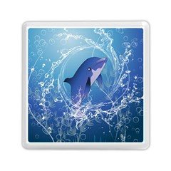 Cute Dolphin Jumping By A Circle Amde Of Water Memory Card Reader (square)