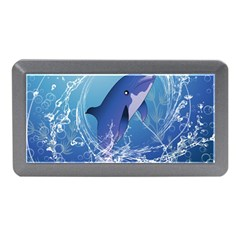 Cute Dolphin Jumping By A Circle Amde Of Water Memory Card Reader (Mini)