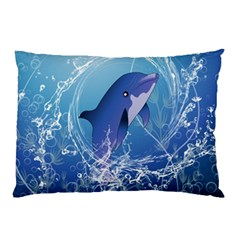 Cute Dolphin Jumping By A Circle Amde Of Water Pillow Cases (Two Sides)