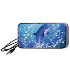 Cute Dolphin Jumping By A Circle Amde Of Water Portable Speaker (black)