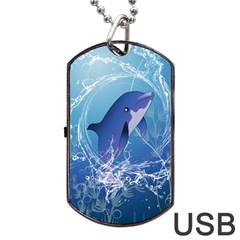 Cute Dolphin Jumping By A Circle Amde Of Water Dog Tag USB Flash (One Side)