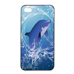 Cute Dolphin Jumping By A Circle Amde Of Water Apple iPhone 4/4s Seamless Case (Black)