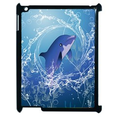 Cute Dolphin Jumping By A Circle Amde Of Water Apple iPad 2 Case (Black)