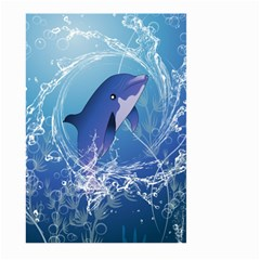Cute Dolphin Jumping By A Circle Amde Of Water Large Garden Flag (Two Sides)