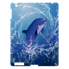 Cute Dolphin Jumping By A Circle Amde Of Water Apple iPad 3/4 Hardshell Case
