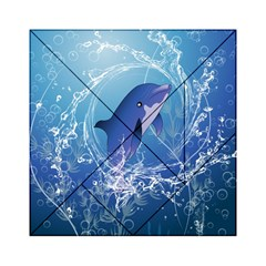 Cute Dolphin Jumping By A Circle Amde Of Water Acrylic Tangram Puzzle (6  x 6 )