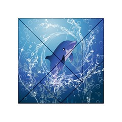 Cute Dolphin Jumping By A Circle Amde Of Water Acrylic Tangram Puzzle (4  x 4 )