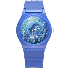 Cute Dolphin Jumping By A Circle Amde Of Water Round Plastic Sport Watch (S)