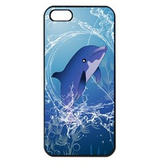 Cute Dolphin Jumping By A Circle Amde Of Water Apple iPhone 5 Seamless Case (Black)