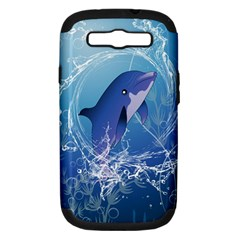 Cute Dolphin Jumping By A Circle Amde Of Water Samsung Galaxy S III Hardshell Case (PC+Silicone)