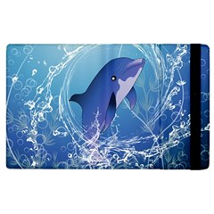 Cute Dolphin Jumping By A Circle Amde Of Water Apple iPad 2 Flip Case