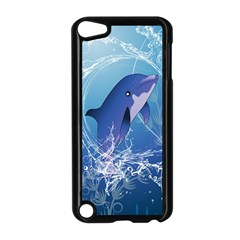 Cute Dolphin Jumping By A Circle Amde Of Water Apple iPod Touch 5 Case (Black)
