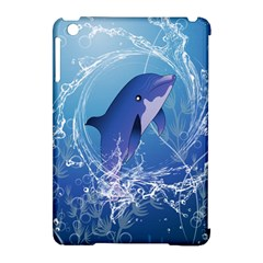 Cute Dolphin Jumping By A Circle Amde Of Water Apple iPad Mini Hardshell Case (Compatible with Smart Cover)