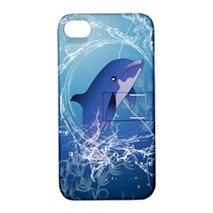 Cute Dolphin Jumping By A Circle Amde Of Water Apple iPhone 4/4S Hardshell Case with Stand