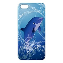 Cute Dolphin Jumping By A Circle Amde Of Water Apple iPhone 5 Premium Hardshell Case