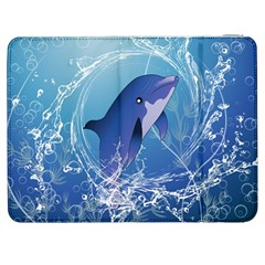 Cute Dolphin Jumping By A Circle Amde Of Water Samsung Galaxy Tab 7  P1000 Flip Case