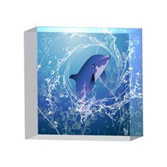 Cute Dolphin Jumping By A Circle Amde Of Water 4 x 4  Acrylic Photo Blocks