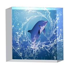 Cute Dolphin Jumping By A Circle Amde Of Water 5  x 5  Acrylic Photo Blocks